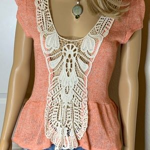🍑 Peach Crocheted Knitted Top SZ L